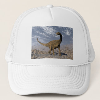 Spinophorosaurus dinosaur walking in the desert trucker hat