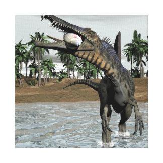 Spinosaurus dinosaur eating fish - 3D render Canvas Print