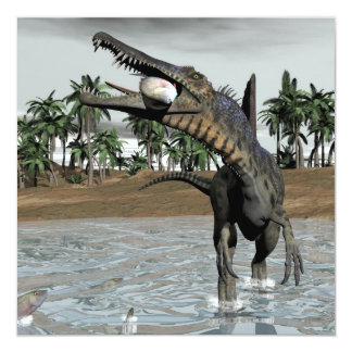 Spinosaurus dinosaur eating fish - 3D render Card
