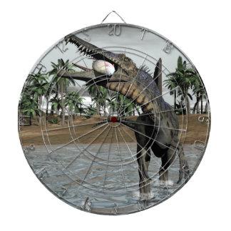 Spinosaurus dinosaur eating fish - 3D render Dartboard