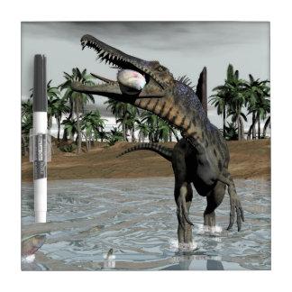 Spinosaurus dinosaur eating fish - 3D render Dry Erase Board