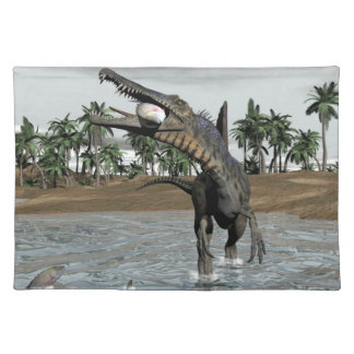 Spinosaurus dinosaur eating fish - 3D render Placemat