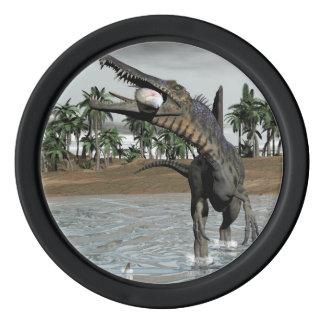 Spinosaurus dinosaur eating fish - 3D render Poker Chips Set