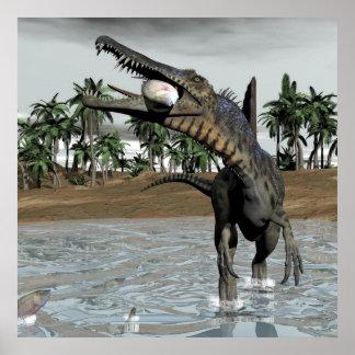 Spinosaurus dinosaur eating fish - 3D render Poster