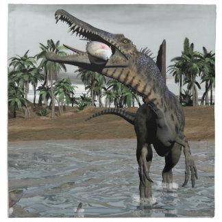 Spinosaurus dinosaur eating fish - 3D render Printed Napkin