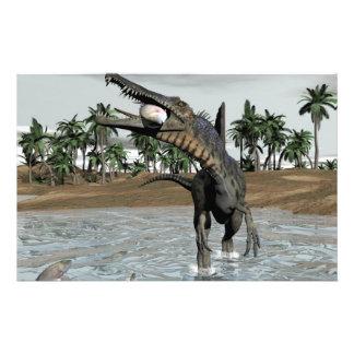 Spinosaurus dinosaur eating fish - 3D render Stationery Paper