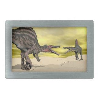 Spinosaurus dinosaur fighting - 3D render Belt Buckles
