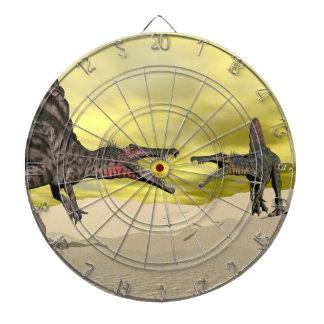 Spinosaurus dinosaur fighting - 3D render Dart Board
