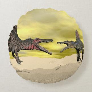 Spinosaurus dinosaur fighting - 3D render Round Cushion