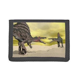 Spinosaurus dinosaur fighting - 3D render Tri-fold Wallets