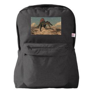 Spinosaurus dinosaur hunting a snake backpack