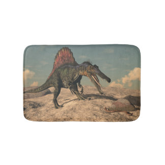 Spinosaurus dinosaur hunting a snake bath mat