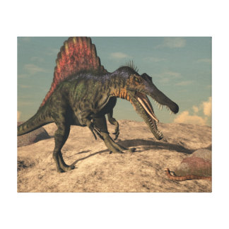 Spinosaurus dinosaur hunting a snake canvas print