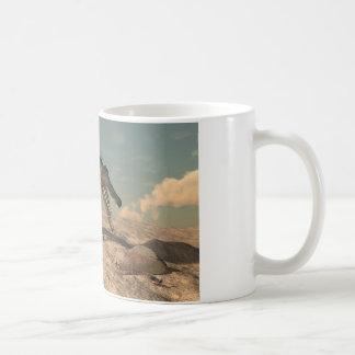 Spinosaurus dinosaur hunting a snake coffee mug