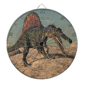 Spinosaurus dinosaur hunting a snake dartboard
