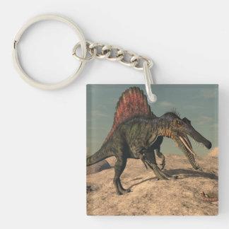 Spinosaurus dinosaur hunting a snake Double-Sided square acrylic key ring