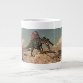 Spinosaurus dinosaur hunting a snake large coffee mug