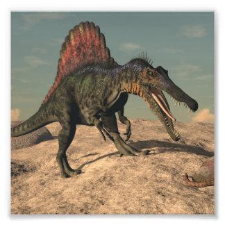 Spinosaurus dinosaur hunting a snake photographic print