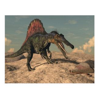 Spinosaurus dinosaur hunting a snake postcard