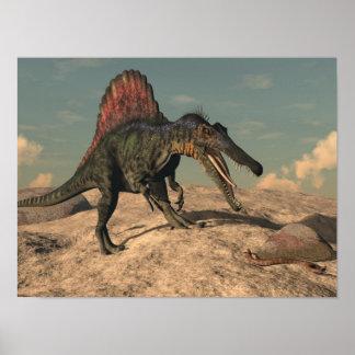 Spinosaurus dinosaur hunting a snake poster