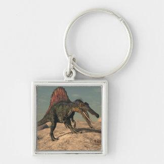Spinosaurus dinosaur hunting a snake Silver-Colored square key ring