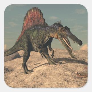 Spinosaurus dinosaur hunting a snake square sticker
