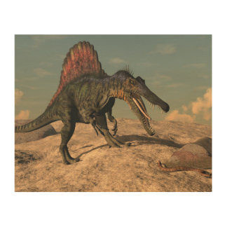 Spinosaurus dinosaur hunting a snake wood canvas