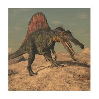 Spinosaurus dinosaur hunting a snake wood print