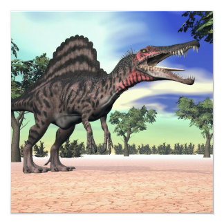 Spinosaurus dinosaur in the desert - 3D render Card