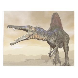 Spinosaurus dinosaur in the desert - 3D render Notepad