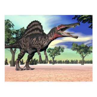 Spinosaurus dinosaur in the desert - 3D render Postcard