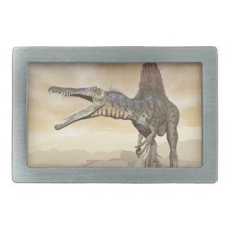 Spinosaurus dinosaur in the desert - 3D render Rectangular Belt Buckle