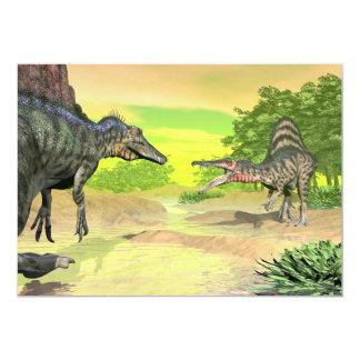 Spinosaurus dinosaurs fight - 3D render Card