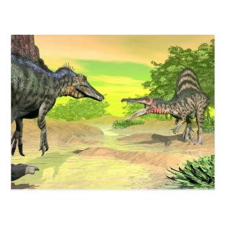 Spinosaurus dinosaurs fight - 3D render Postcard