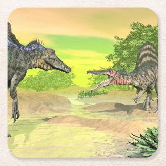 Spinosaurus dinosaurs fight - 3D render Square Paper Coaster