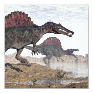 Spinosaurus dinosaurs in desert - 3D render Card