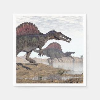 Spinosaurus dinosaurs in desert - 3D render Disposable Napkin