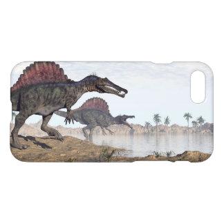 Spinosaurus dinosaurs in desert - 3D render iPhone 7 Case