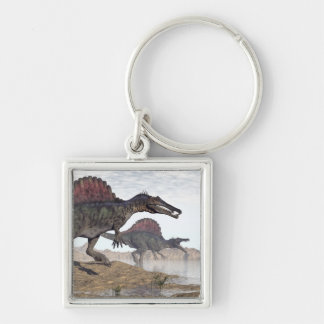 Spinosaurus dinosaurs in desert - 3D render Silver-Colored Square Key Ring