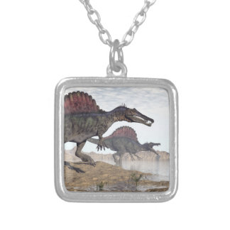 Spinosaurus dinosaurs in desert - 3D render Silver Plated Necklace