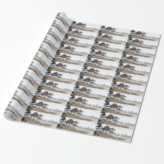 Spinosaurus dinosaurs in desert - 3D render Wrapping Paper