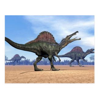 Spinosaurus dinosaurs walk - 3D render Postcard