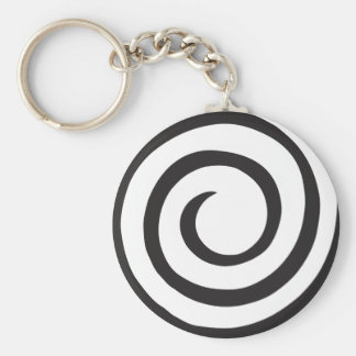 Spiral abstract basic round button key ring