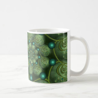 Spiral and Spheres Green Fractal Coffee Mug