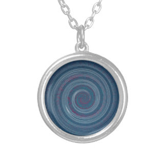 spiral blue - hypnotic silver plated necklace