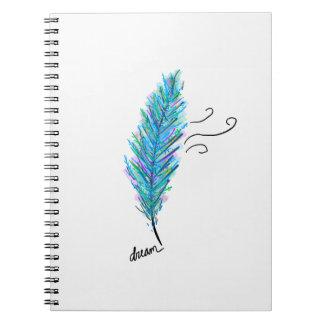 Spiral bound notebook  feather