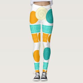 Spiral Circle Floral Square Orange Mint Leggings