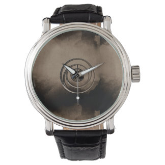 Spiral Circular Taupe and Black Modern Design Watch