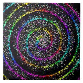 Spiral Dots Large Square Tile