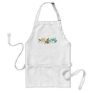 Spiral Floral Embroidery Design Adult Apron